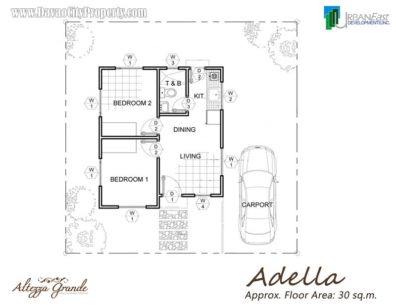 Adella 2 bedrooms 1 toilet bath at altezza grande for Affordable housing floor plans